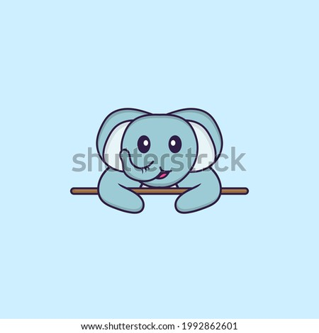 Cute elephant lying down. Animal cartoon concept isolated. Can used for t-shirt, greeting card, invitation card or mascot.