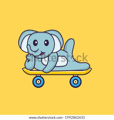 Cute elephant lying on a skateboard. Animal cartoon concept isolated. Can used for t-shirt, greeting card, invitation card or mascot.