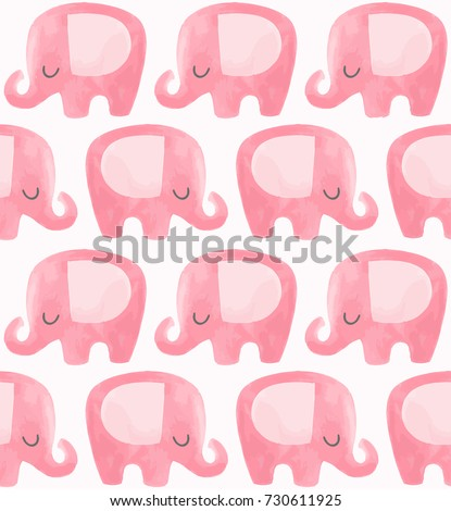 Cute elephant pattern. Seamless vector background with pink elephant cartoon character. Minimal baby or children print design. Girl nursery.