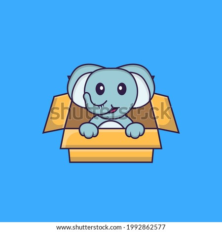 Cute elephant Playing In Box. Animal cartoon concept isolated. Can used for t-shirt, greeting card, invitation card or mascot.