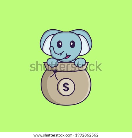 Cute elephant playing in money bag. Animal cartoon concept isolated. Can used for t-shirt, greeting card, invitation card or mascot.