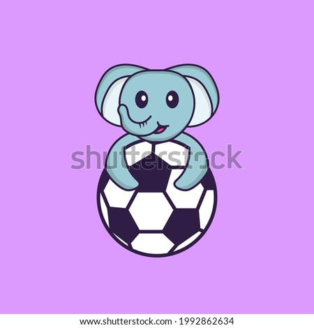 Cute elephant playing soccer. Animal cartoon concept isolated. Can used for t-shirt, greeting card, invitation card or mascot.