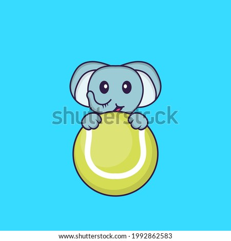 Cute elephant playing tennis. Animal cartoon concept isolated. Can used for t-shirt, greeting card, invitation card or mascot.