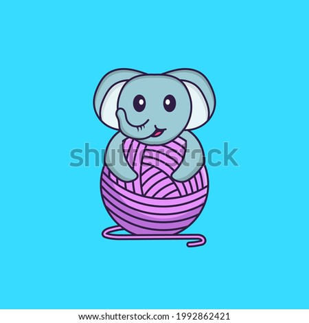 Cute elephant playing with wool yarn. Animal cartoon concept isolated. Can used for t-shirt, greeting card, invitation card or mascot.