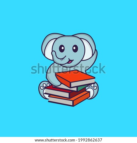 Cute elephant reading a book. Animal cartoon concept isolated. Can used for t-shirt, greeting card, invitation card or mascot.