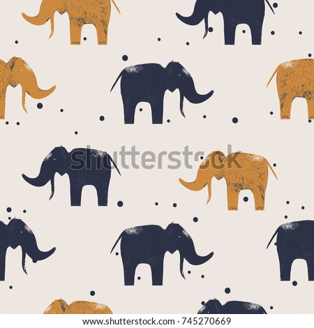 cute elephant seamless pattern .vector hand drawn illustration.Can be used for kids or babies shirt design, fashion print design, t-shirt, kids wear,textile design,