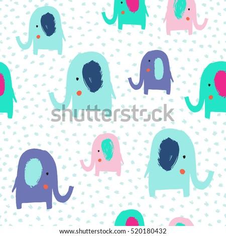 cute elephant seamless pattern