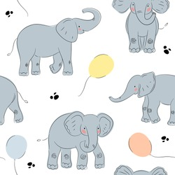 Cute elephant seamless pattern whith birthday balloons. Grey elephant illustration. Huge elephants. Animals for kids