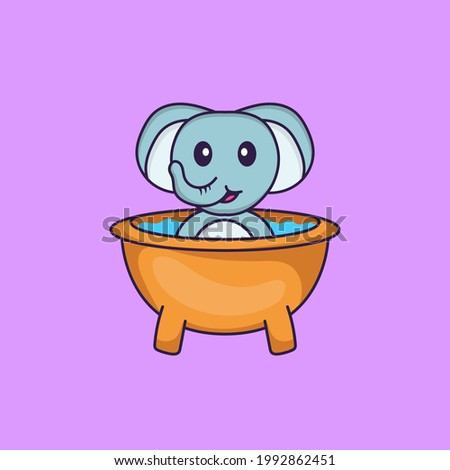 Cute elephant taking a bath in the bathtub. Animal cartoon concept isolated. Can used for t-shirt, greeting card, invitation card or mascot.