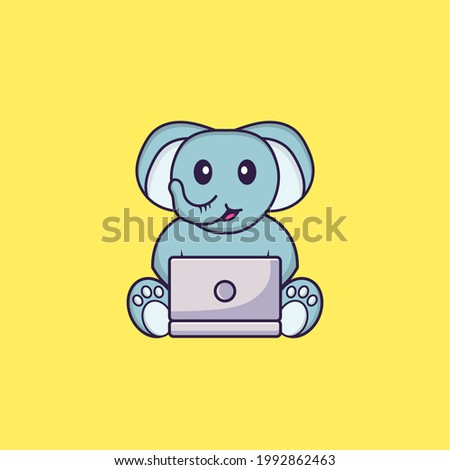 Cute elephant using laptop. Animal cartoon concept isolated. Can used for t-shirt, greeting card, invitation card or mascot.