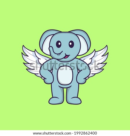 Cute elephant using wings. Animal cartoon concept isolated. Can used for t-shirt, greeting card, invitation card or mascot.
