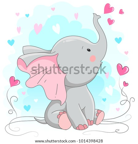 Cute elephant  vector illustration. Cartoon hand drawn  animal  print  for t-shirts baby, design, print fashion  kids, baby shower, cards and posters