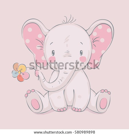cute elephant with a flower