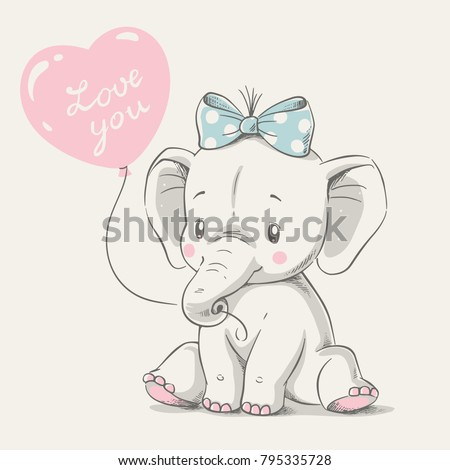 Cute elephant with balloon hand drawn vector illustration. Can be used for t-shirt print, kids wear fashion design, baby shower invitation card. - Shutterstock ID 795335728