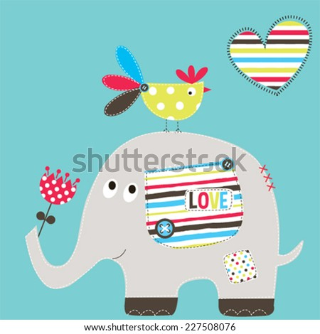 cute elephant with bird vector