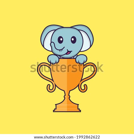 Cute elephant with gold trophy. Animal cartoon concept isolated. Can used for t-shirt, greeting card, invitation card or mascot.