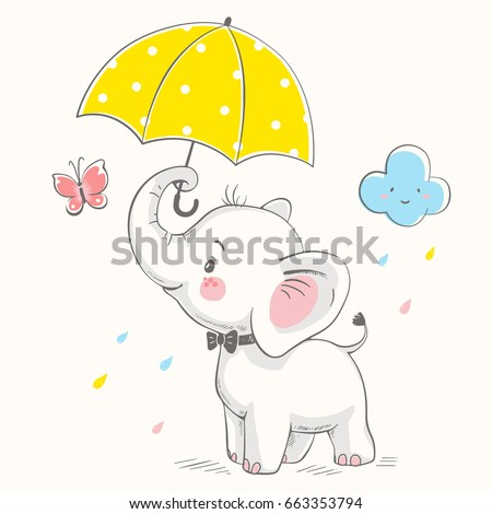 cute elephant with umbrella
