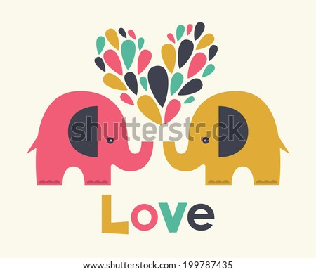 cute elephants in love vector