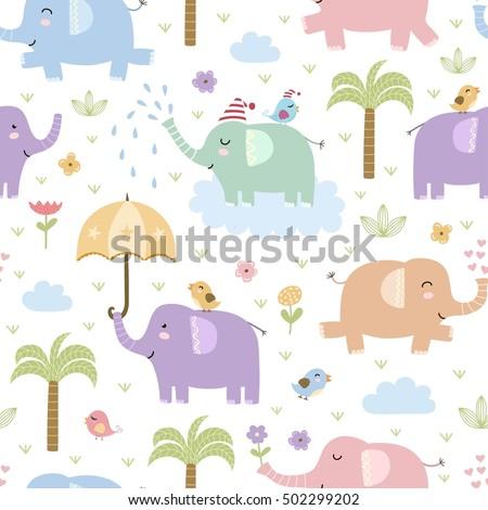 cute elephants seamless pattern....