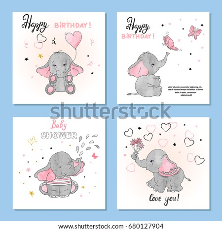 Cute Elephants vector illustrations. Set of birthday greeting cards, posters, prints.