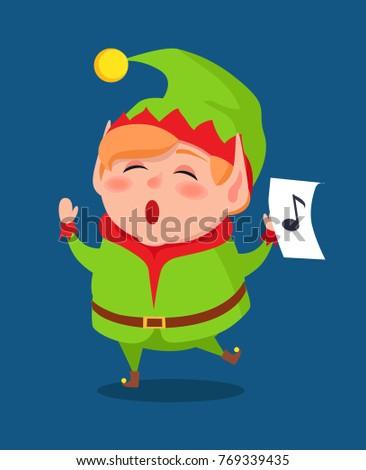 cute elf singing carol songs