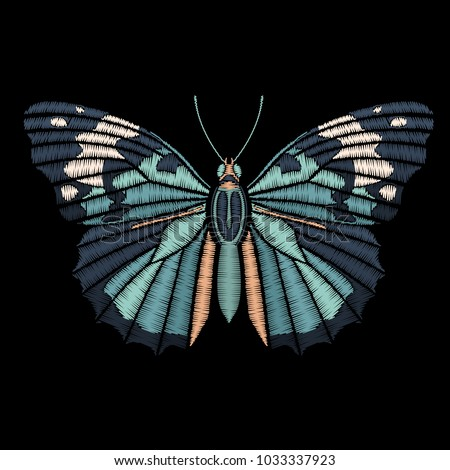 Cute embroidered butterfly for fashion design. Decorative element for patches, stickers, embroidery and prints. Vector illustration.
