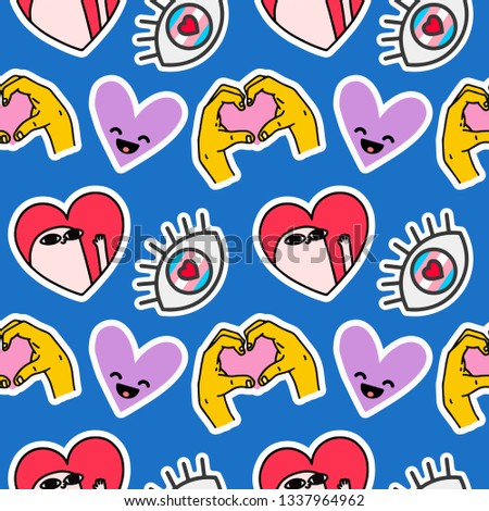 Cute emoji pattern with social network illustrations. Emoticon stickers pattern. - Vector #1337964962