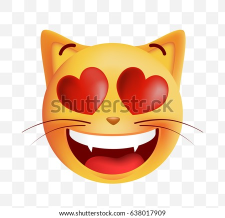 Cute Emoticon Cat In Love on Transparent Background. Isolated Vector Illustration