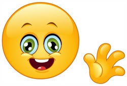 Cute emoticon waving hello