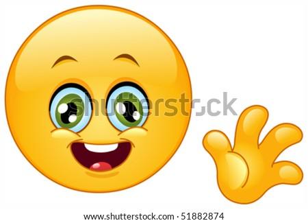 Cute emoticon waving hello
