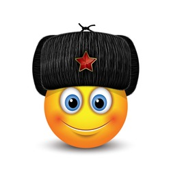 Cute emoticon wearing Russian black fur hat - ushanka - with a red star - emoji, smiley - vector illustration