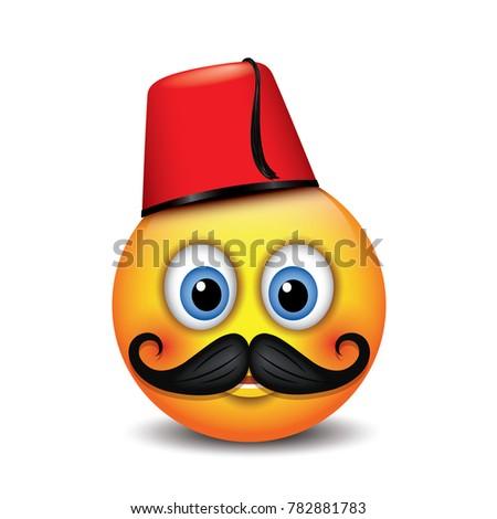 cute emoticon wearing turkish