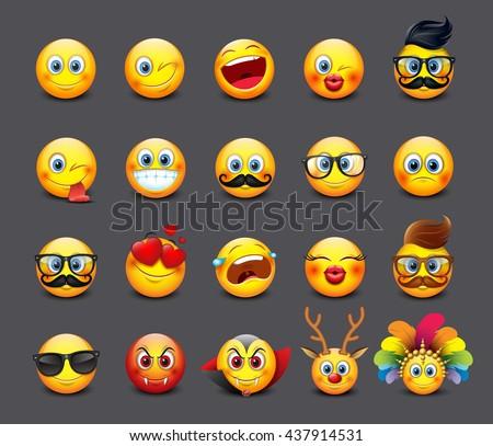 Cute emoticons set, emoji - smiley - vector illustration
