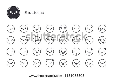 Cute emoticons thin line icons. Vector set of modern linear style smiley symbols. Simple Illustration of varied people face expressions for blogs, social networks, messenger apps, mobile and web chats