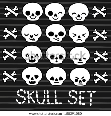cute emotion skull set for