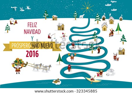 Cute eskimos characters celebrating 2016 Christmas and New Year holidays in a snowy village with a river in tree form.