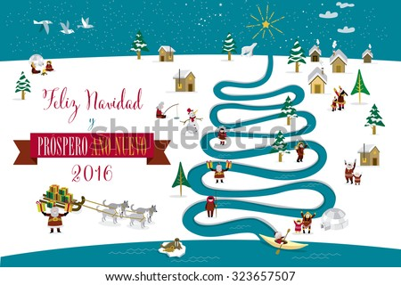 Cute eskimos characters celebrating Christmas and New Year 2016 holidays in little snowy village with a river in tree form. Text in spanish.