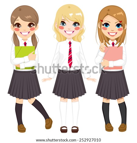 cute european school girls