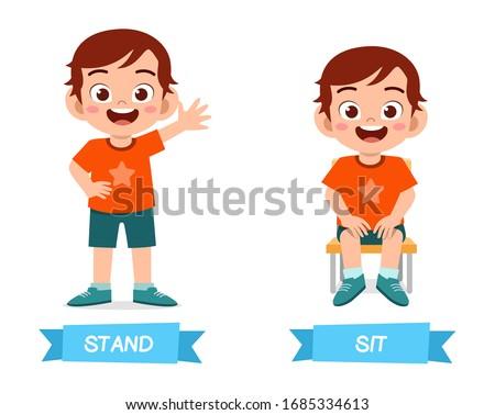 cute example of opposite word antonym for kid Foto d'archivio ©