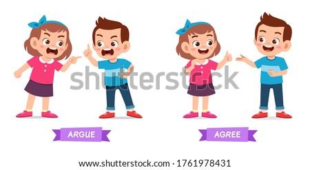cute example of opposite word antonym for kid Stock photo ©