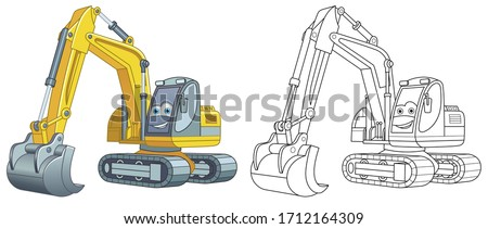 Cute excavator. Coloring page and colorful clipart character. Cartoon design for t shirt print, icon, logo, label, patch or sticker. Vector illustration.