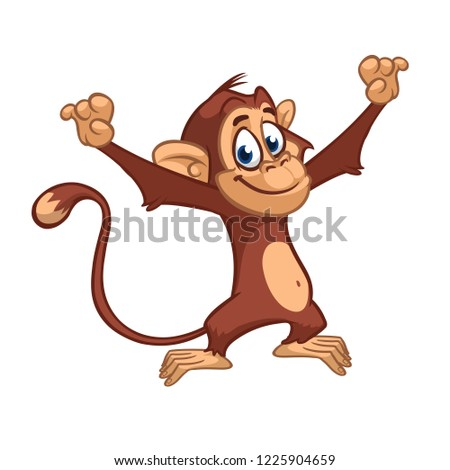 cute excited monkey cartoon
