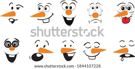 Cute face of a snowman. Emotions of a snowman. Funny emoticons in different expressions. Сток-фото ©