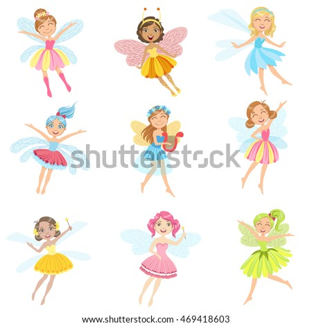 cute fairies in pretty dresses