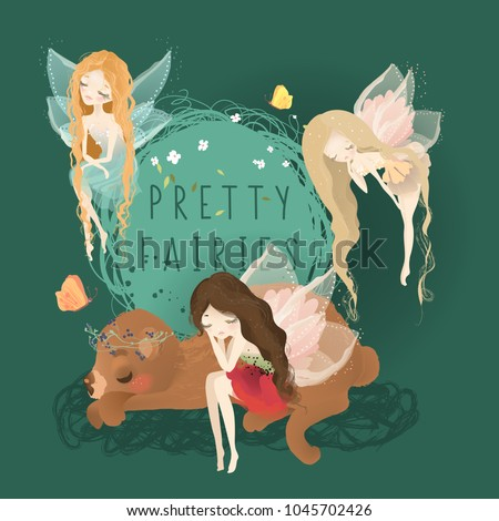Stock Photo Cute fairies set. Red haired fairy, blond and brunette dreaming on the bear with floral wreath and frame and butterflies