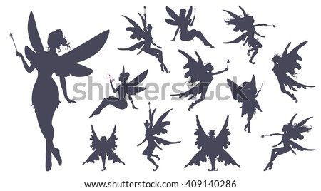 cute fairies silhouette