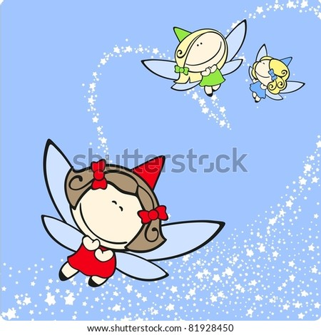 Cute fairies trio flying