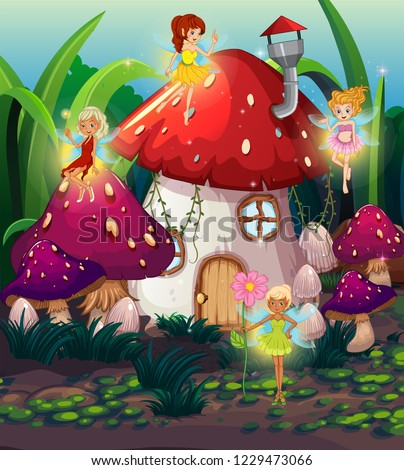Cute fairy at thr magic land illustration