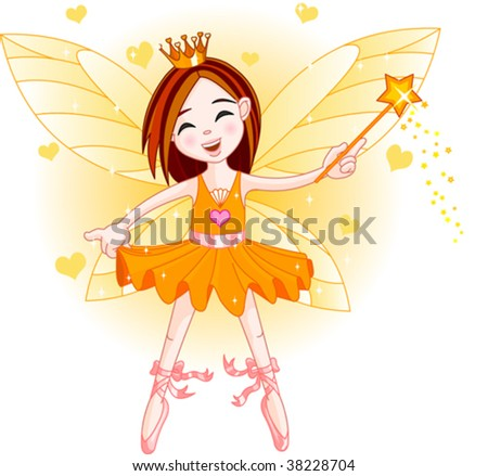 Cute fairy ballerina flying . All objects are separate groups