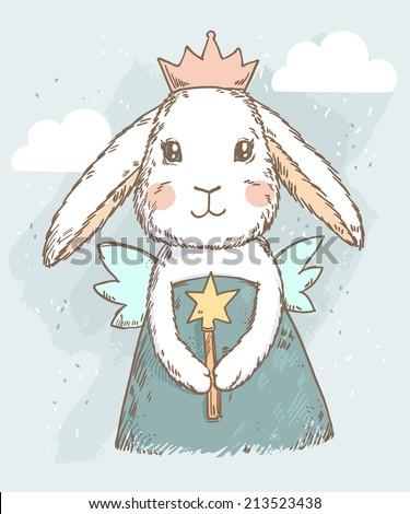 cute fairy princess rabbit with